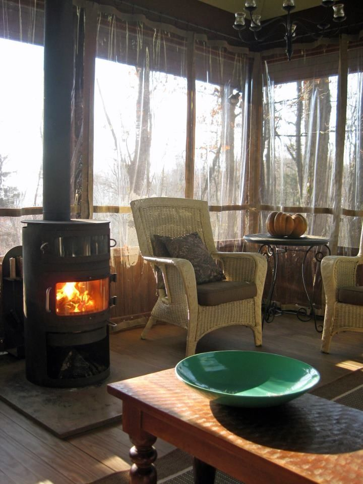 Love The Wood Stove On The Porch Porch Wood Wood Stove Porch Curtains