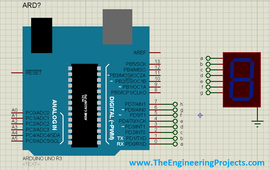 Interfacing of Seven Segment with Arduino in Proteus, 7