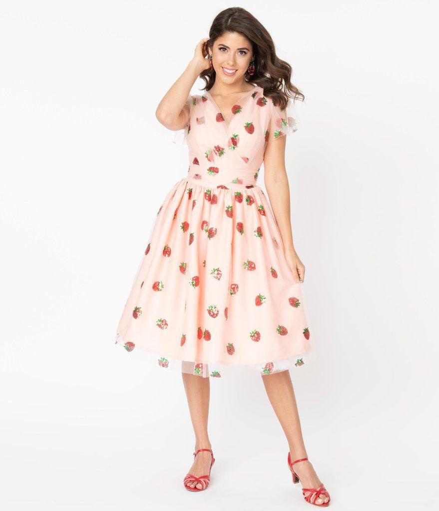 Pink Tulle Strawberry Sequin Midori Swing Dress Unique Vintage Swing Dress Strawberry Dress Unique Dresses [ 1023 x 879 Pixel ]