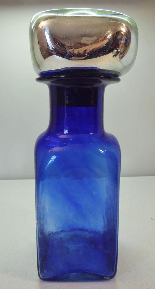 Cobalt Blue Large Jar Vase Vase With Silver Tone Cork Lid Blown