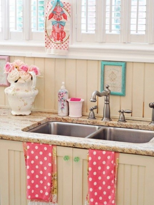 13c Pink White Cute Country Kitchen Granite