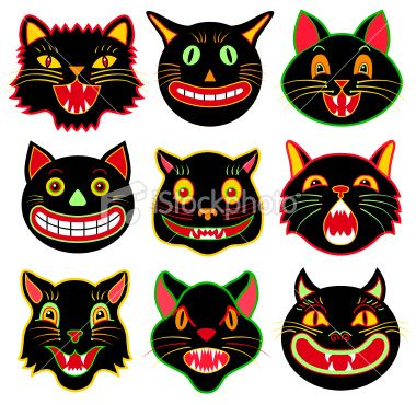 Vector Illustrations Of A Various Halloween Black Cats Black
