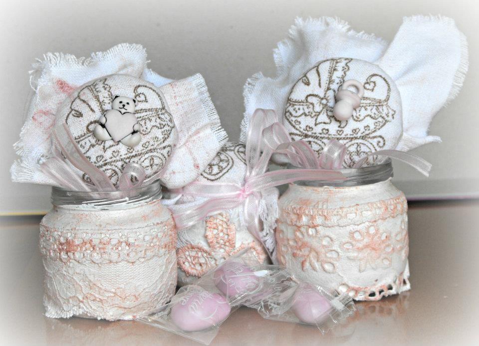 Bomboniere per battesimo barattoli di vetro decorati con - Barattoli decorati shabby ...
