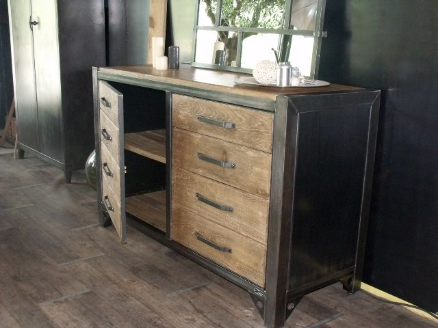 meuble tv au design industriel. fabrication artisanale. www ... - Meuble De Cuisine Industriel