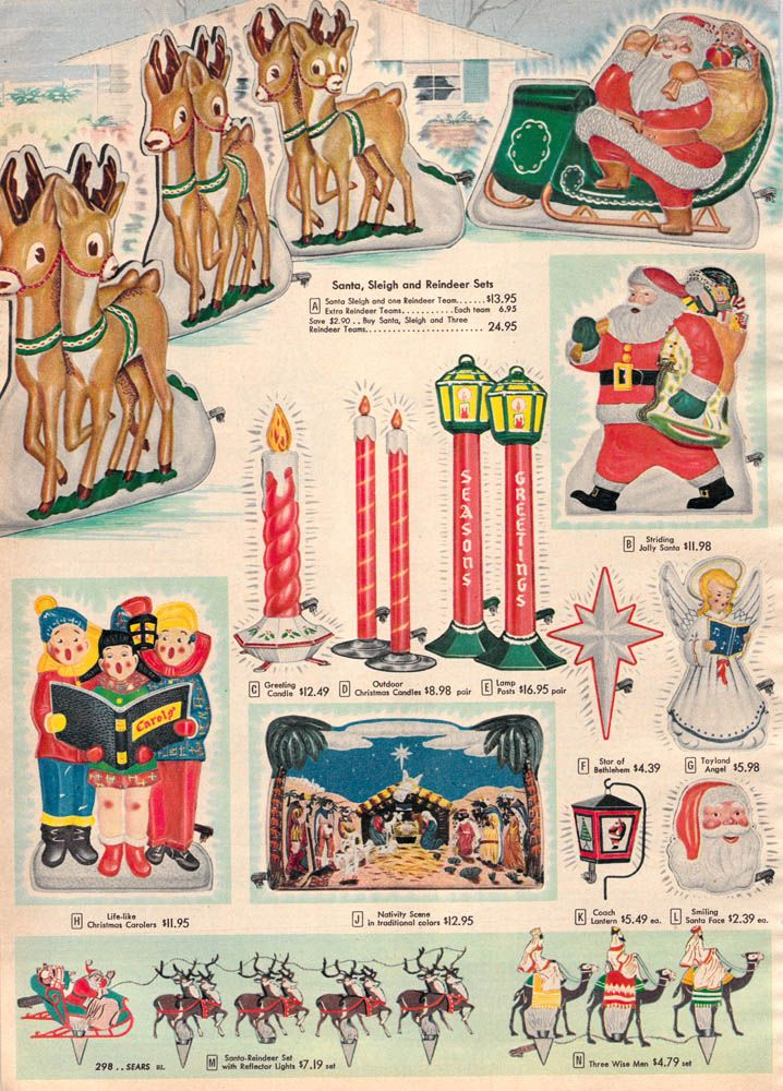 Outdoor 1956 Christmas decor. Sears. * 1500 free paper dolls Christmas  gifts artist Arielle Gabriels The International Paper Doll Society also  free paper ... - Outdoor 1956 Christmas Decor. Sears. * 1500 Free Paper Dolls