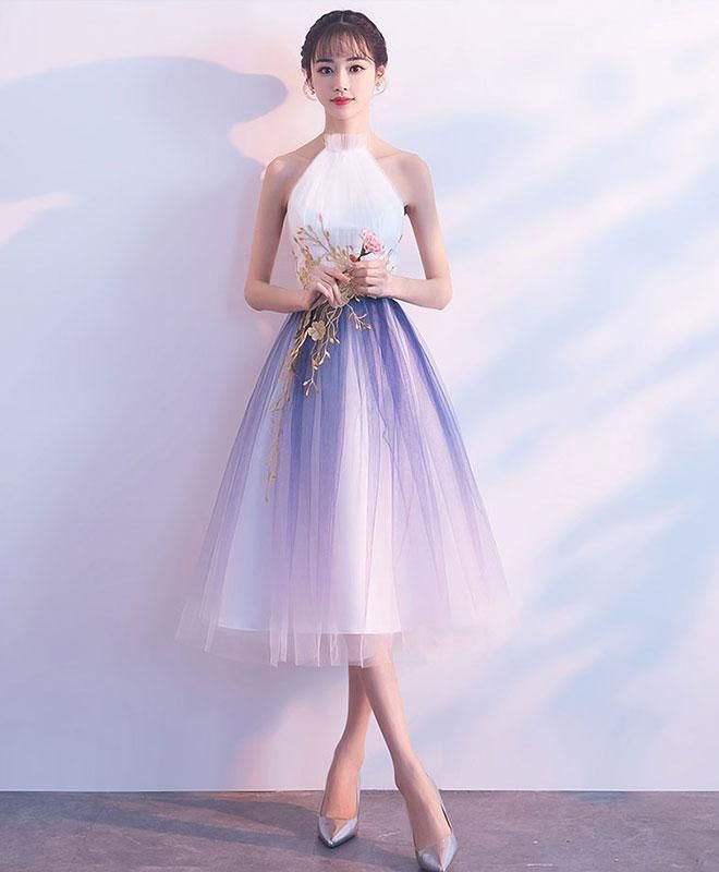 Lovely Tulle Halter Vintage Tulle Tea Length Party Dress, Cute Party Dress, Homecoming Dress – 긴 드레스