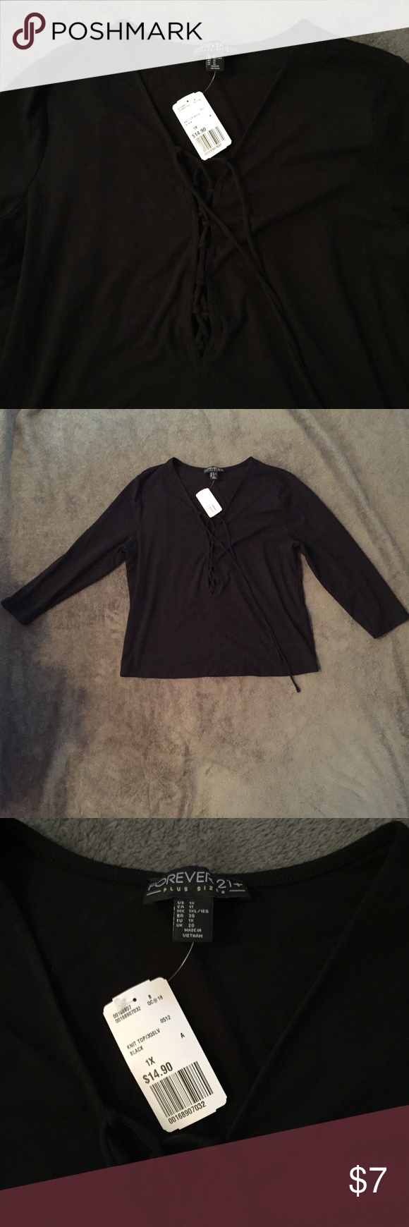 Forever 21 Plus Lace Up Top Recently purchased here on Poshmark! Everything was great, just the lace up open detail on the shirt goes lower than I'd like. Great for a night out! Forever 21 Tops
