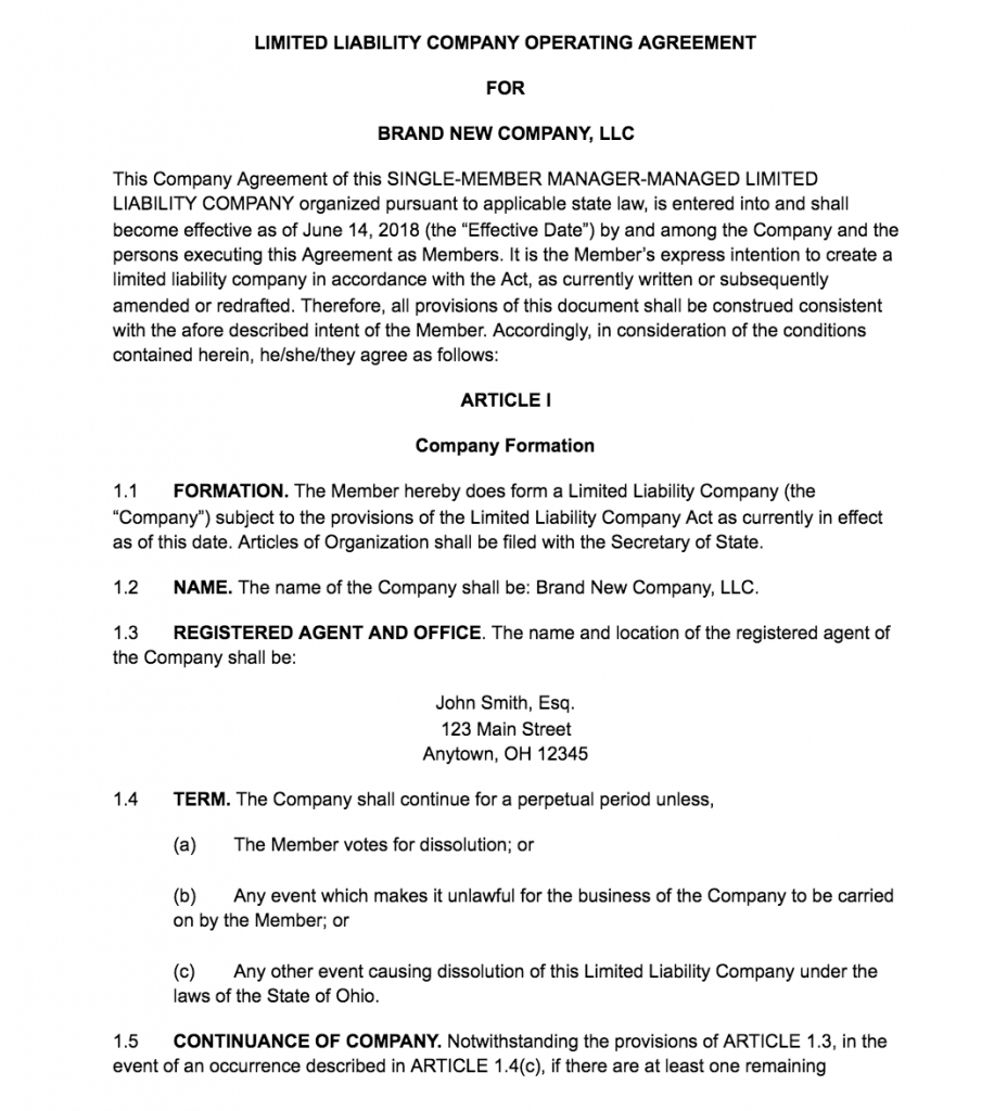 How To Create An Llc Operating Agreement Free Templates ...