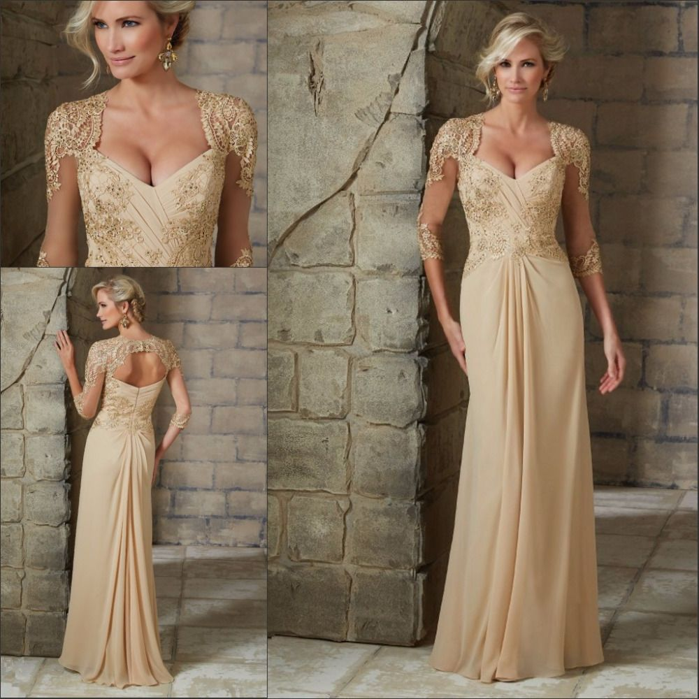 Hairstyle For Wedding Godmother: Gold Mermaid Mother Of The Bride Groom Dresses For Wedding