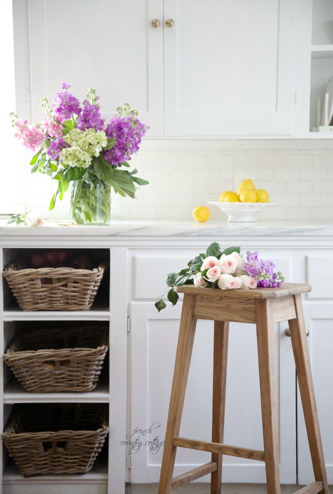 Take Drawers Out And Replace With Baskets From FRENCH COUNTRY - French country cottage blog