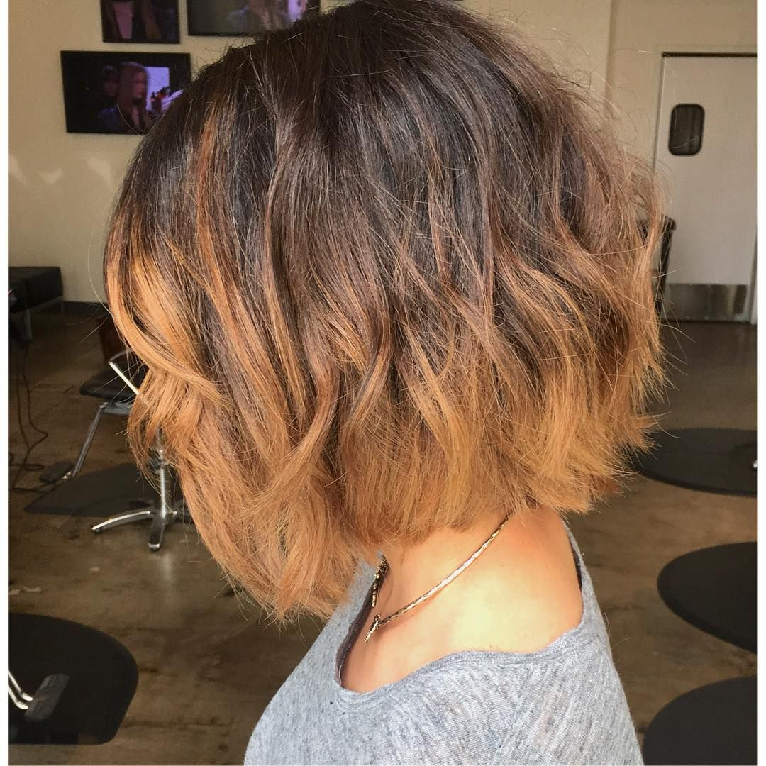wavy messy short bob with toffee brown balayage bobs. Black Bedroom Furniture Sets. Home Design Ideas