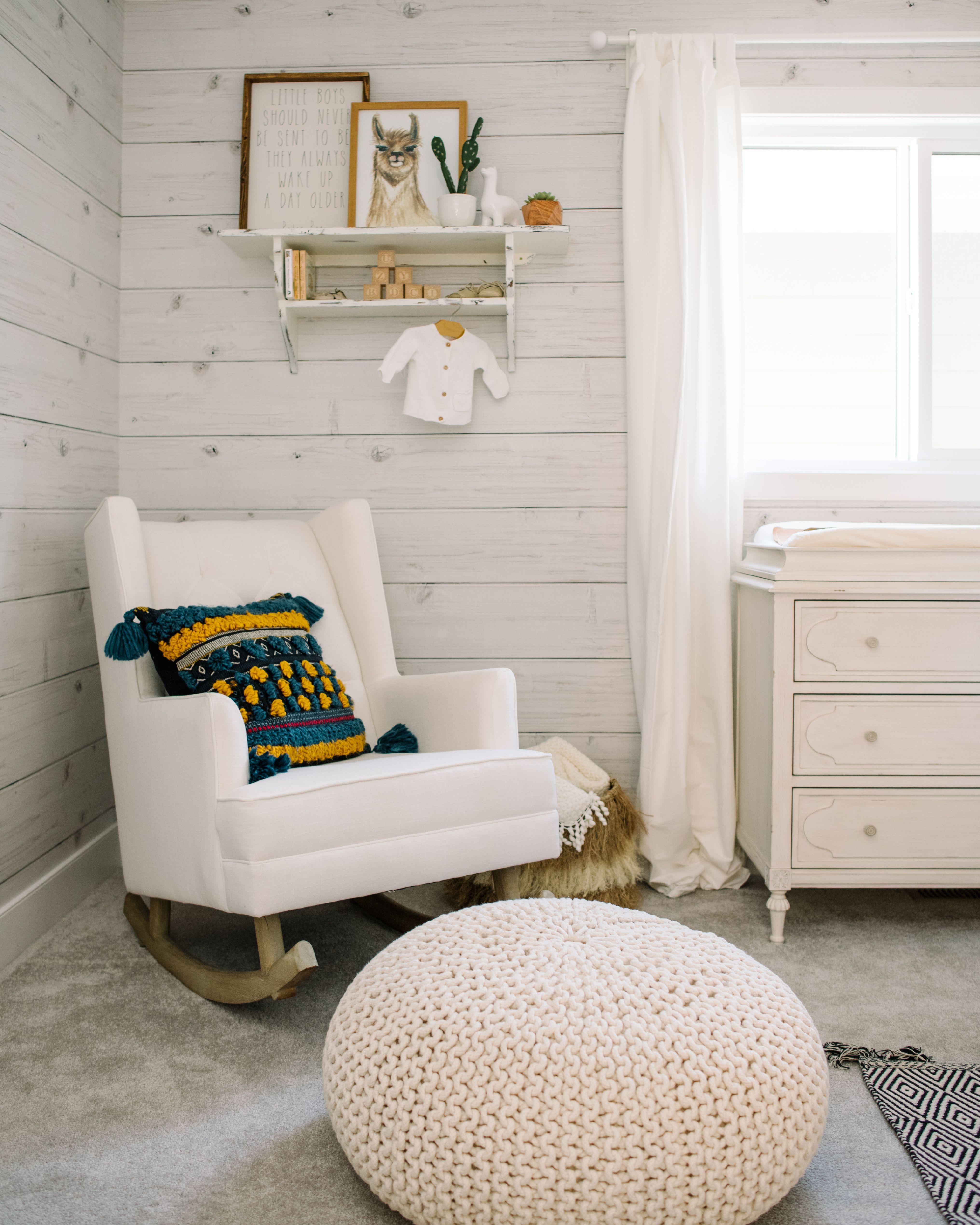 natural wood rocking chair nursery