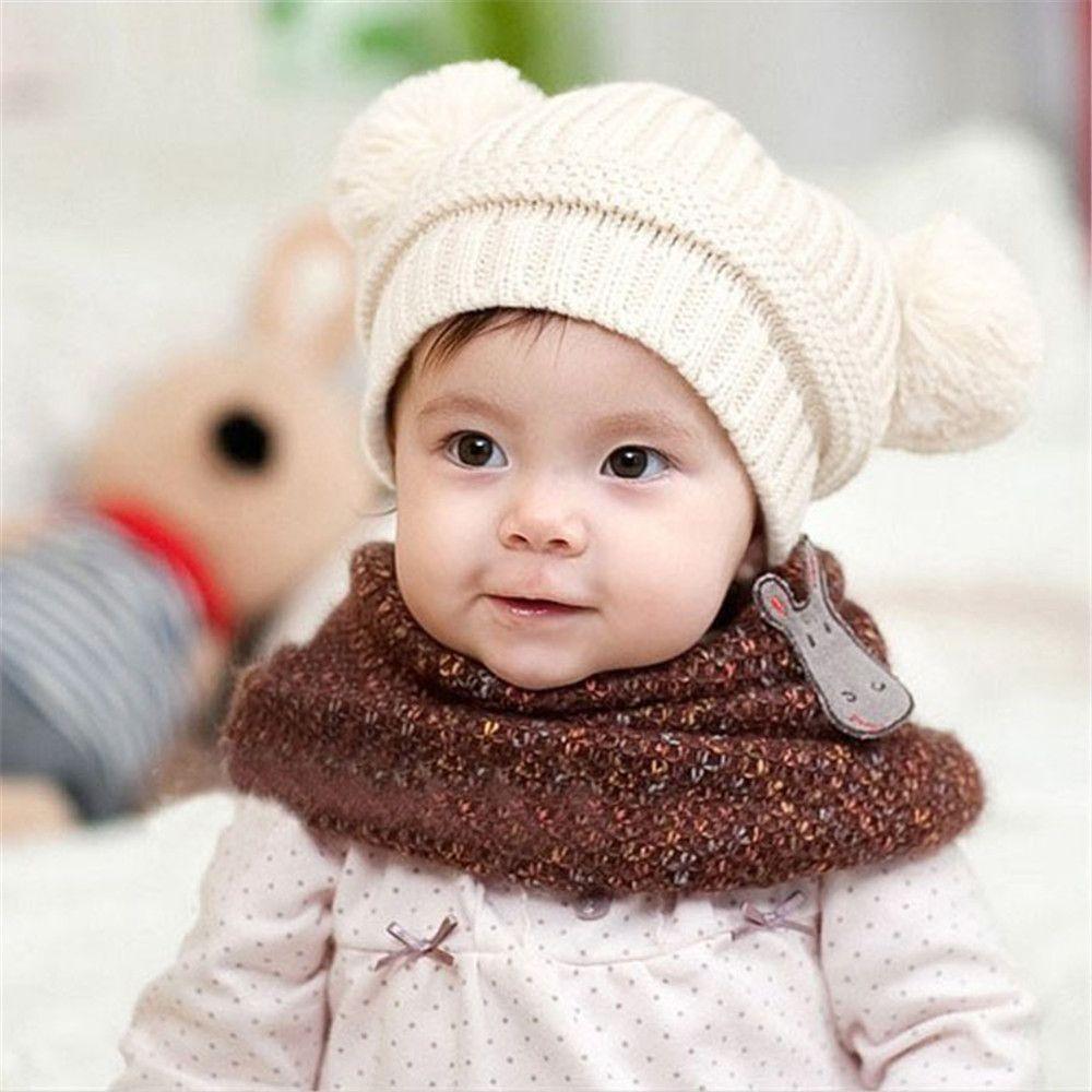 c5e9ff8003b Feitong 2016 Baby Kint Hat Korean Unisex Baby Boy Girl Children Dual Ball  Knit Sweater Cap Winter Star Hats Beanies Accessories                Click  on the ...