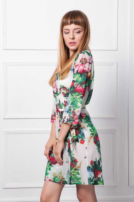 White Floral Robe/ Floral Dressing Gown / Silky Summer Fruit Kimono ...