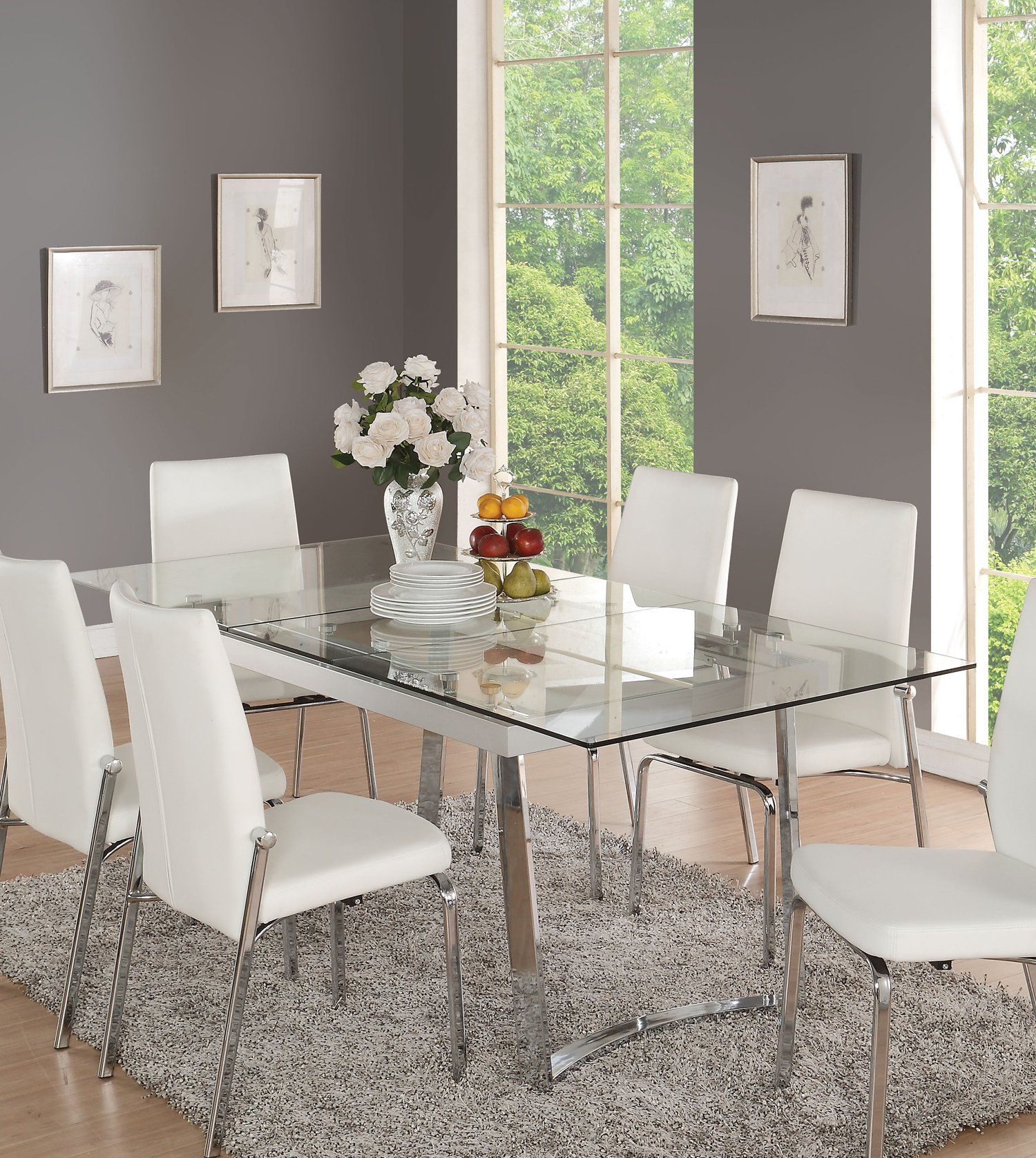 Acme 73150 Osias White Chrome Clear Glass Dining Table Modern Glass Dining Table White Glass Dining Table Glass Dining Table