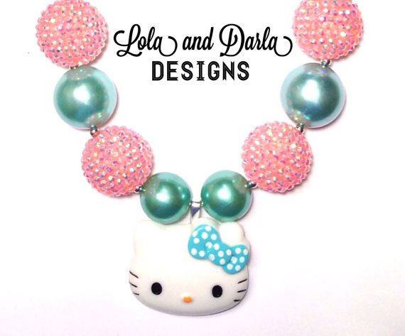 Pink/Blue Hello Kitty necklace chunky by LolaandDarlaDesigns, $20.00