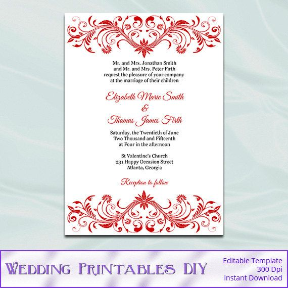 Red Wedding Invitation Template Diy By Weddingprintablesdiy Wedding Invitation Templates Red Wedding Invitations Tiffany Blue Wedding Invitation