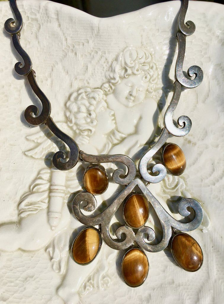 Taxco Los Ballesteros Vintage Mexican Sterling Silver Necklace Pendant Brooch Same Day Shipping