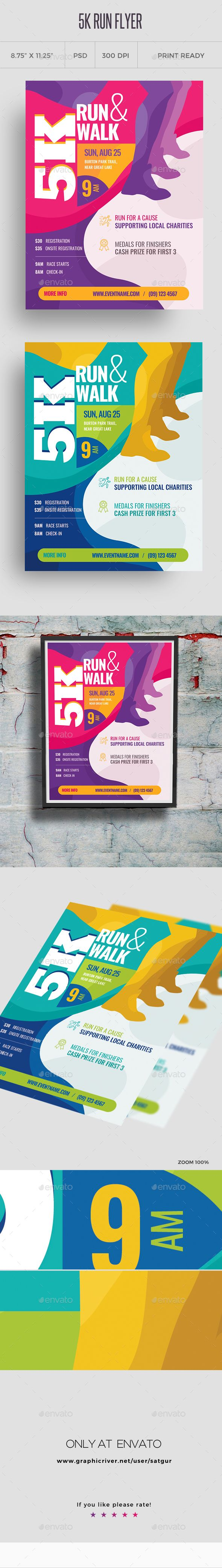 5k run flyer and poster template flyers posters pinterest