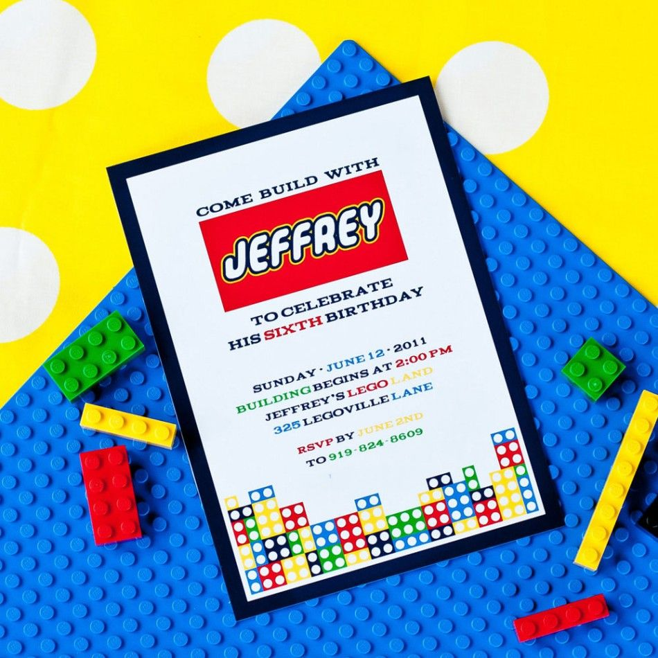 Modern Building Brick Birthday Party Printable Invitation | Events ...