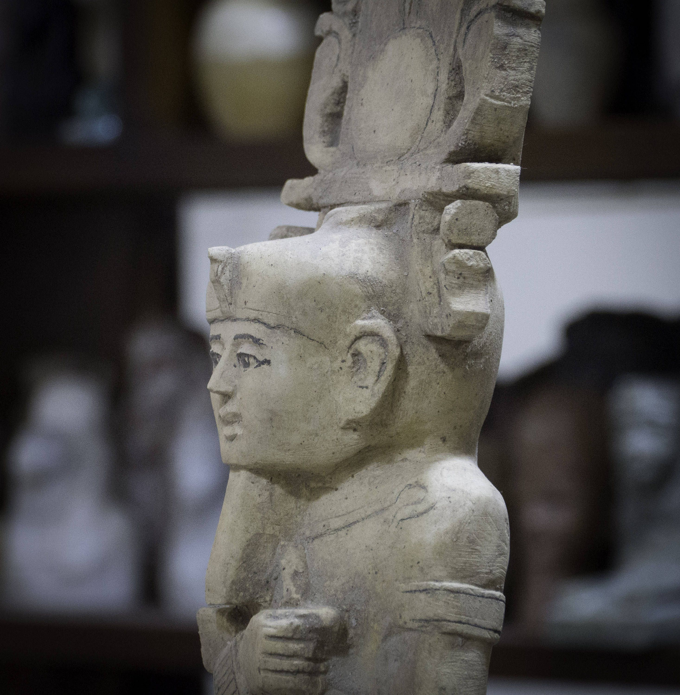 Alabaster stone vase hand made unpolished stone sculptures