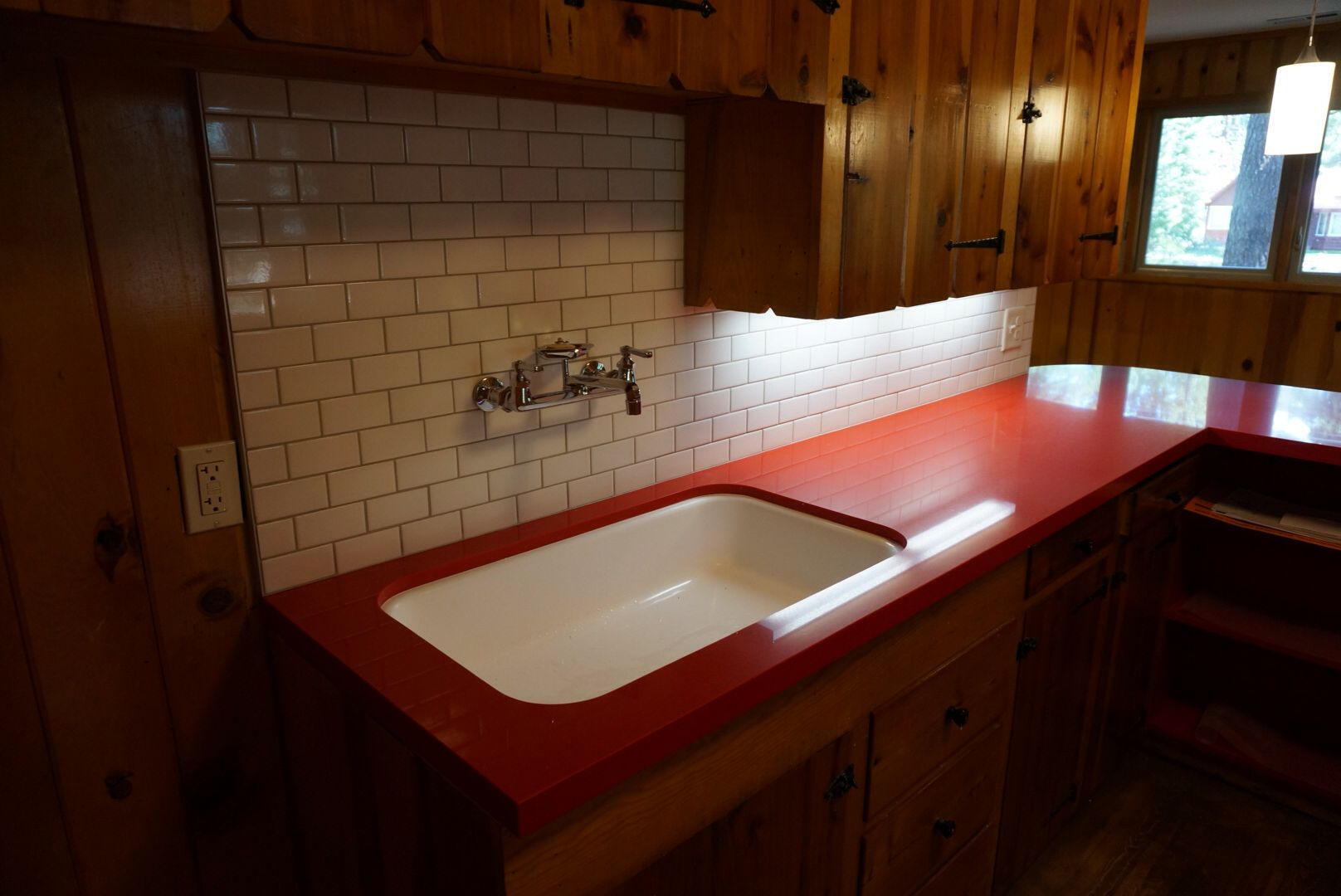 Cabin Kitchen Sink Refurbished With New Quartz Red Countertops