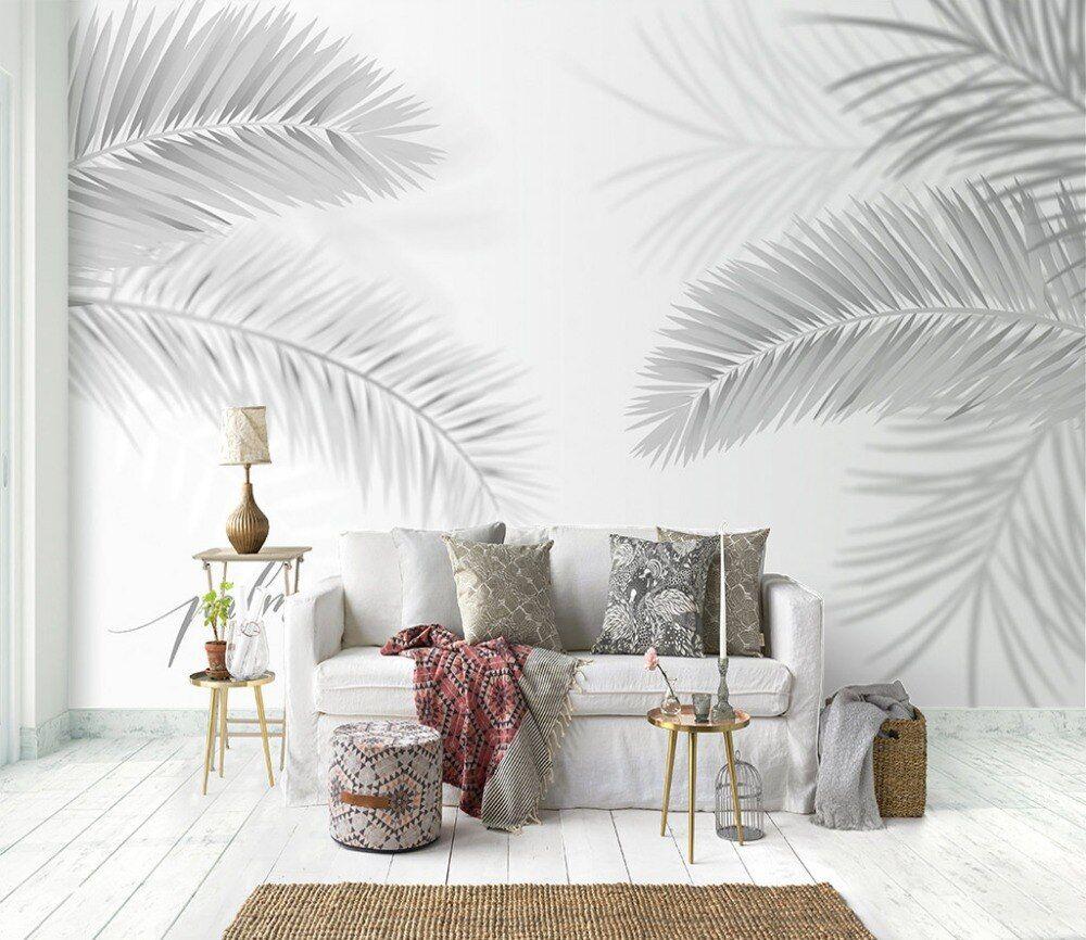 Living Room Bedroom Wall Paper Stickers Palm Tree Leaf Photo Wallpaper Mural Carta Da Parati Self Adhe In 2020 Tropical Home Decor Grey Mural Wallpaper Wallpaper Decor #palm #tree #living #room
