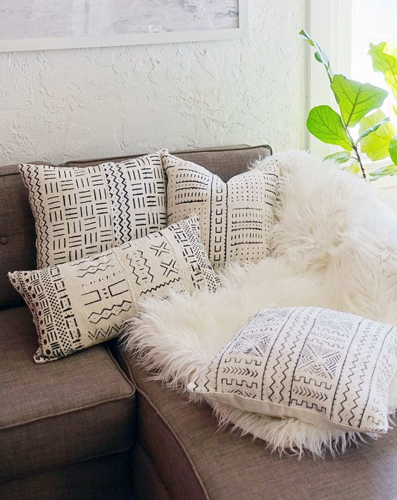 16 Quot X 16 Quot African Mudcloth Throw Pillow Cover White Couch