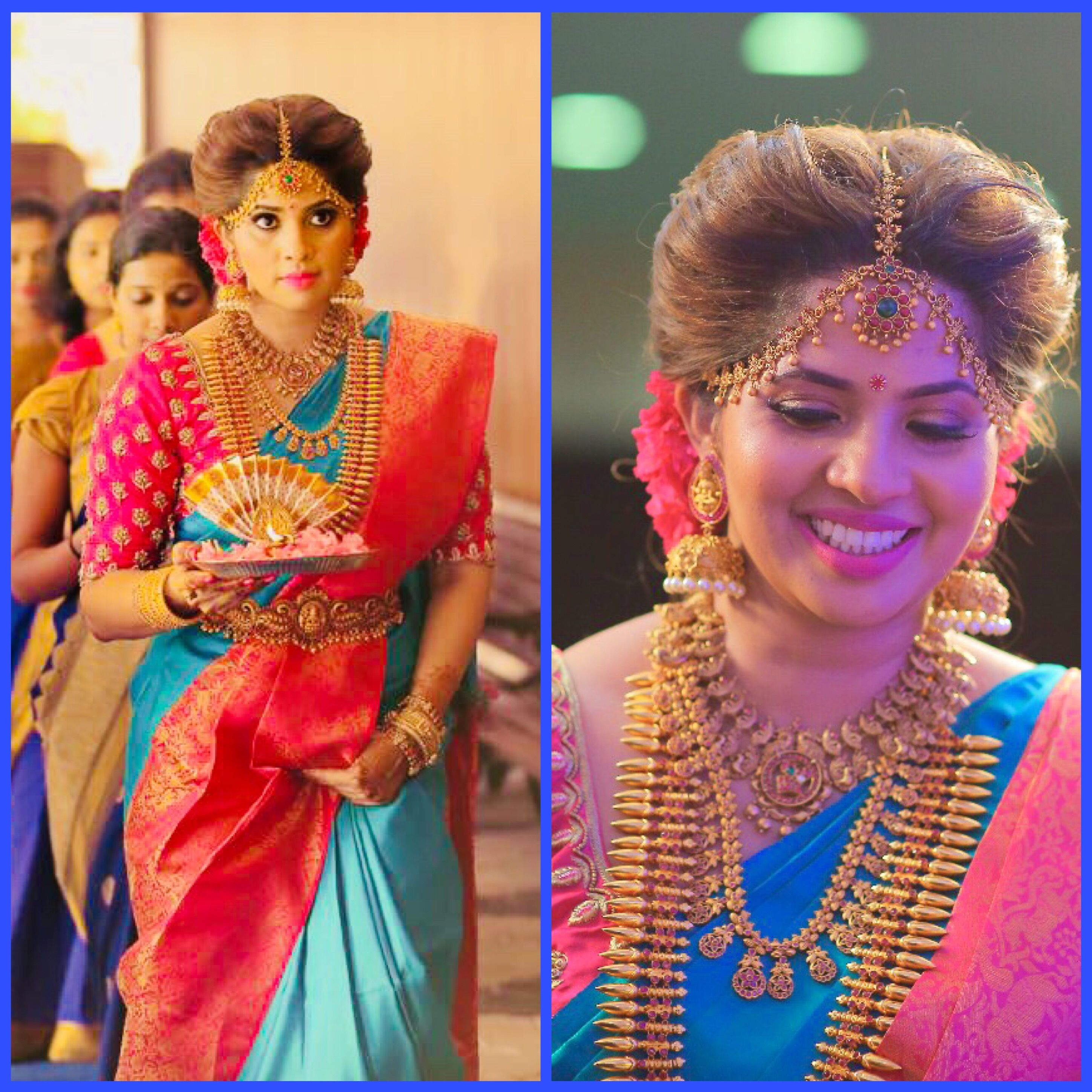 Devika Madhavan In A Peacock Blue Kanjeevaram Saree Wedding