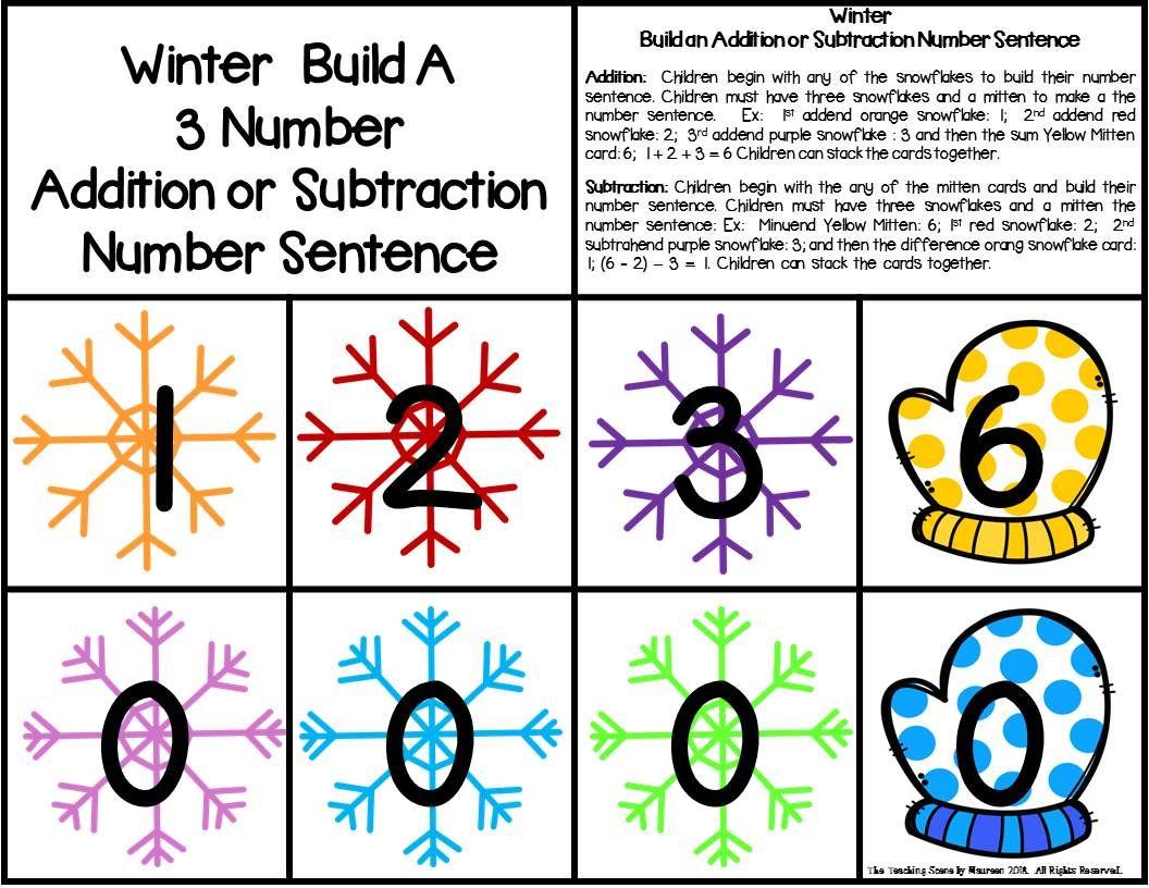 Winter Build 3 Addend Addition Amp Subtraction Number