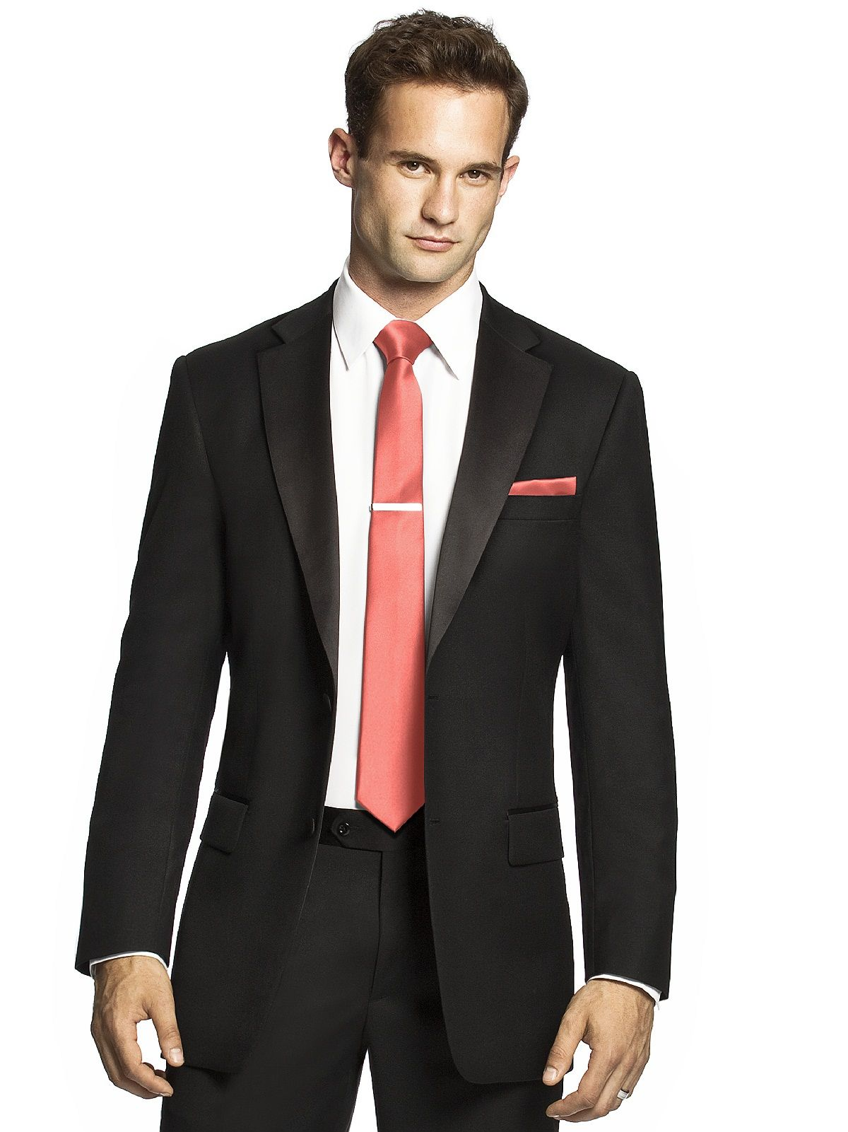 For him: Black suit, charcoal shirt & coral tie. | Trajes ...