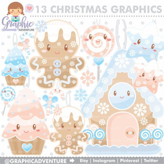 2020 Christmas Commerical Art Trend Christmas Clipart Christmas Graphics Gingerbread Clipart   Etsy in