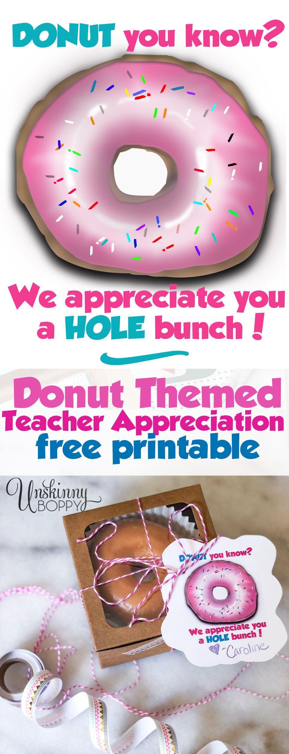Donut Teacher Appreciation Free Printable -- Donut you ...