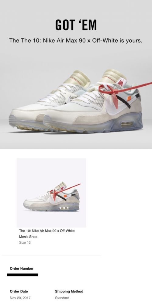 1ebc35ed1b Athletic 15709: The Ten: Nike Air Max 90 X Virgil Abloh Off-White (Size:  13) 100% Authentic -> BUY IT NOW ONLY: $650 on eBay!
