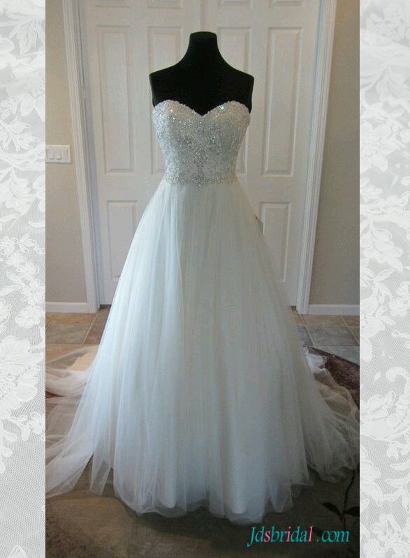 H1552 Sparkly Beading Sweetheart Neck Tulle Wedding Dress Wedding Dresses Lace Wedding Dresses Strapless Sparkle Wedding Dress