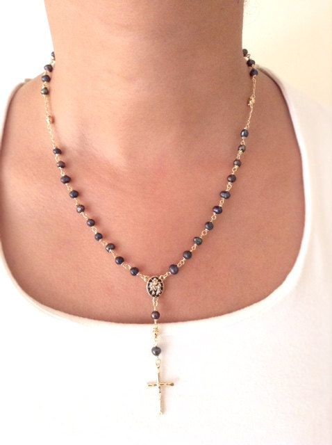 c31c4f5c8d1b Black Pearl Necklace Gold Rosary Necklace Black Freshwater pearl ...