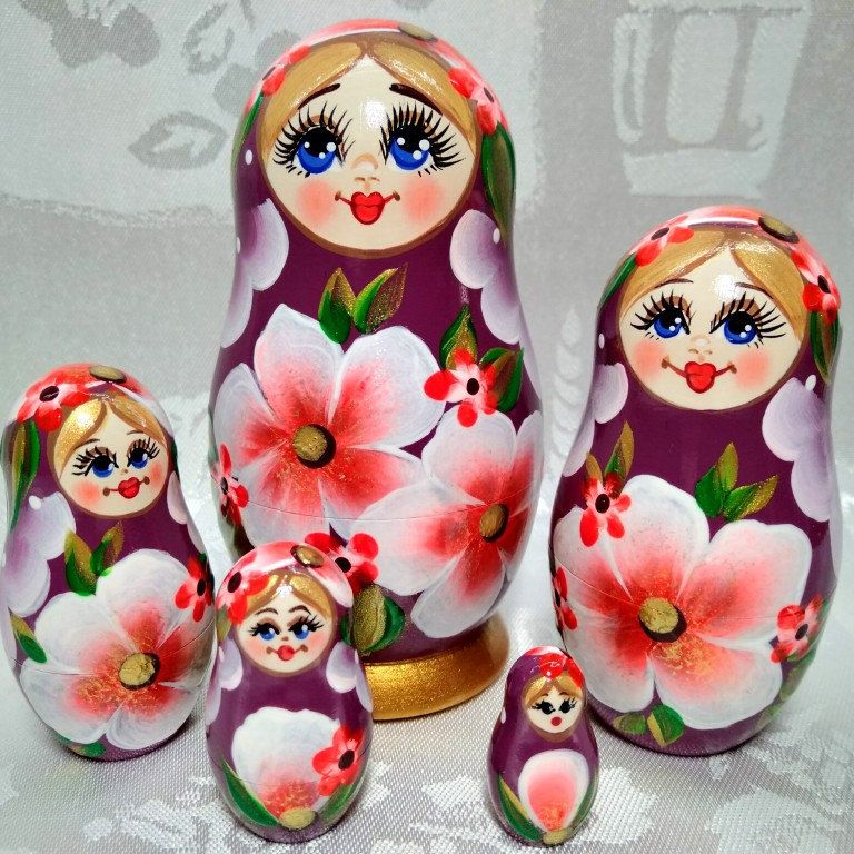 kids nesting dolls matryoshka dolls matriochka russian nesting doll hand painted Pink Nesting Dolls set of 5