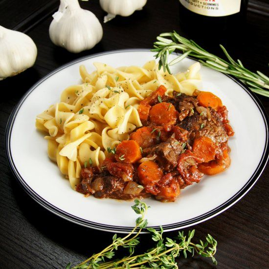 A Classic French Braised Beef & Vegetable Stew Flavored