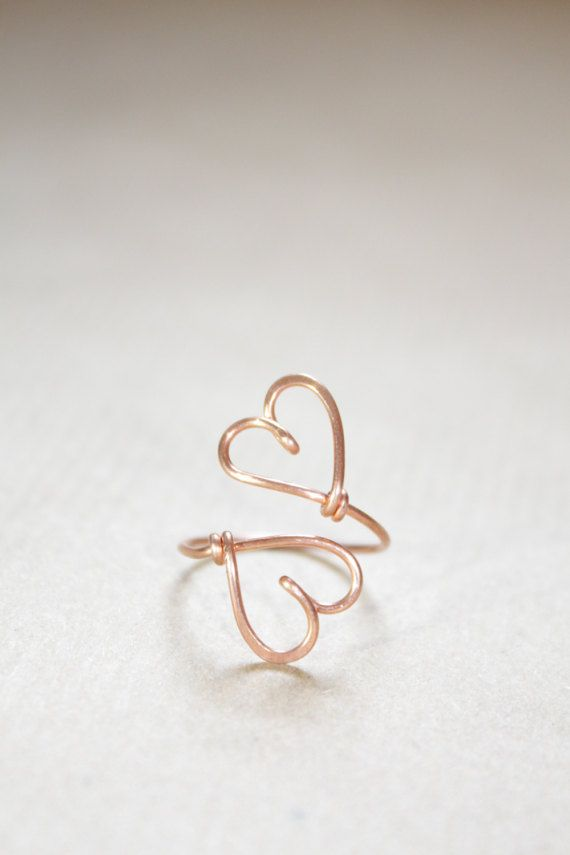 Double Hearts Ring 22k Rose Gold, Wire Heart, Sweetheart Couple ...