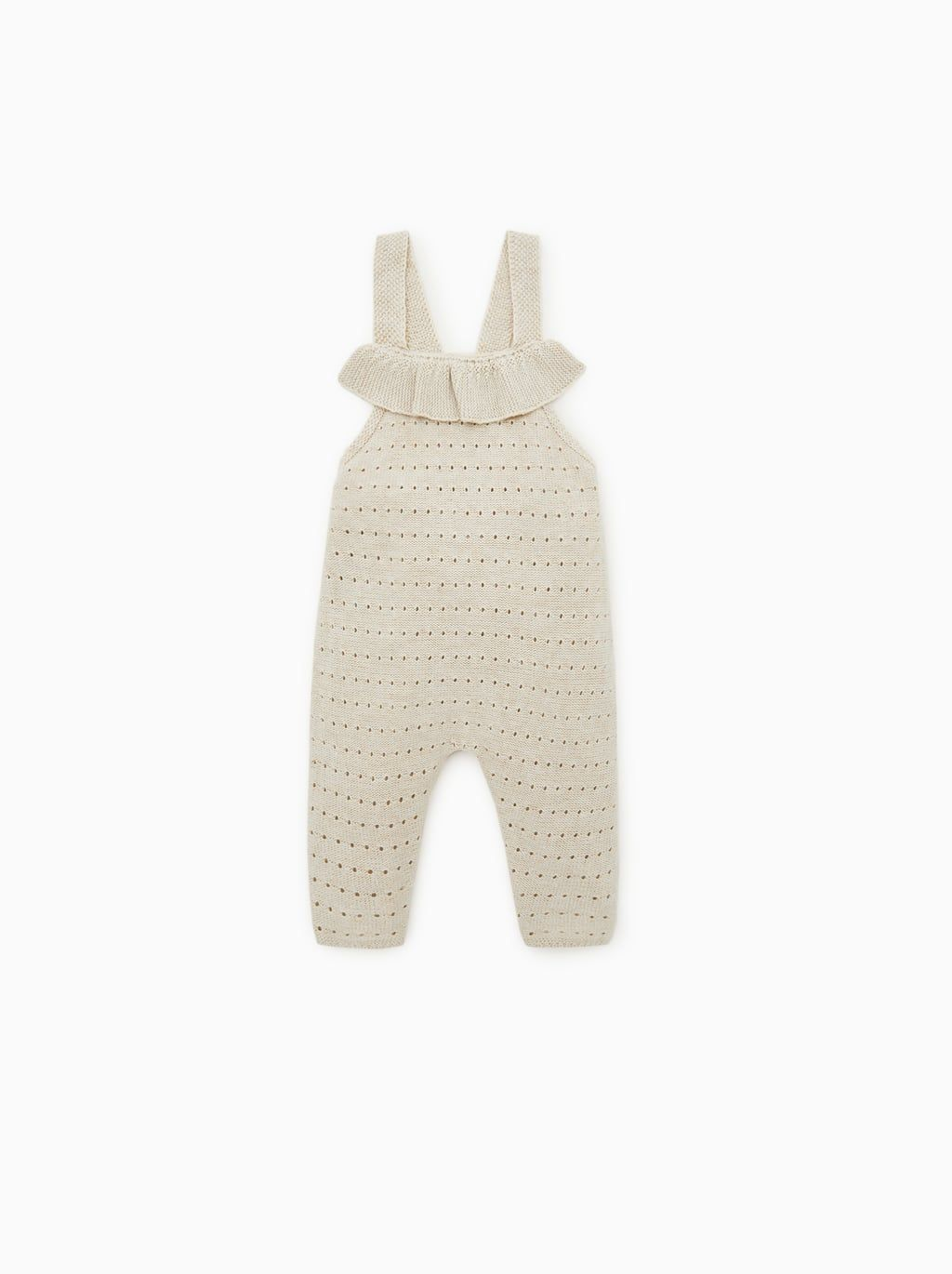 cf1444d95 Open knit overalls with ruffle | +sweet one+ | Knitted baby clothes ...