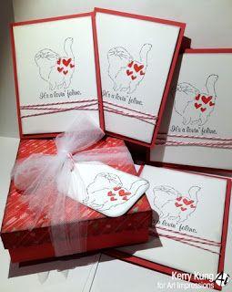 ART IMPRESSIONS STAMPS Lovin Feline Set (Sku#4216) Valentine cards