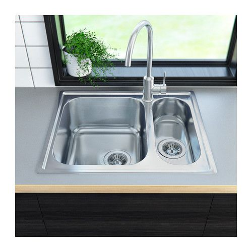 Medium image of boholmen   inset sink 1 1 2 bowl stainless steel    132 98   http