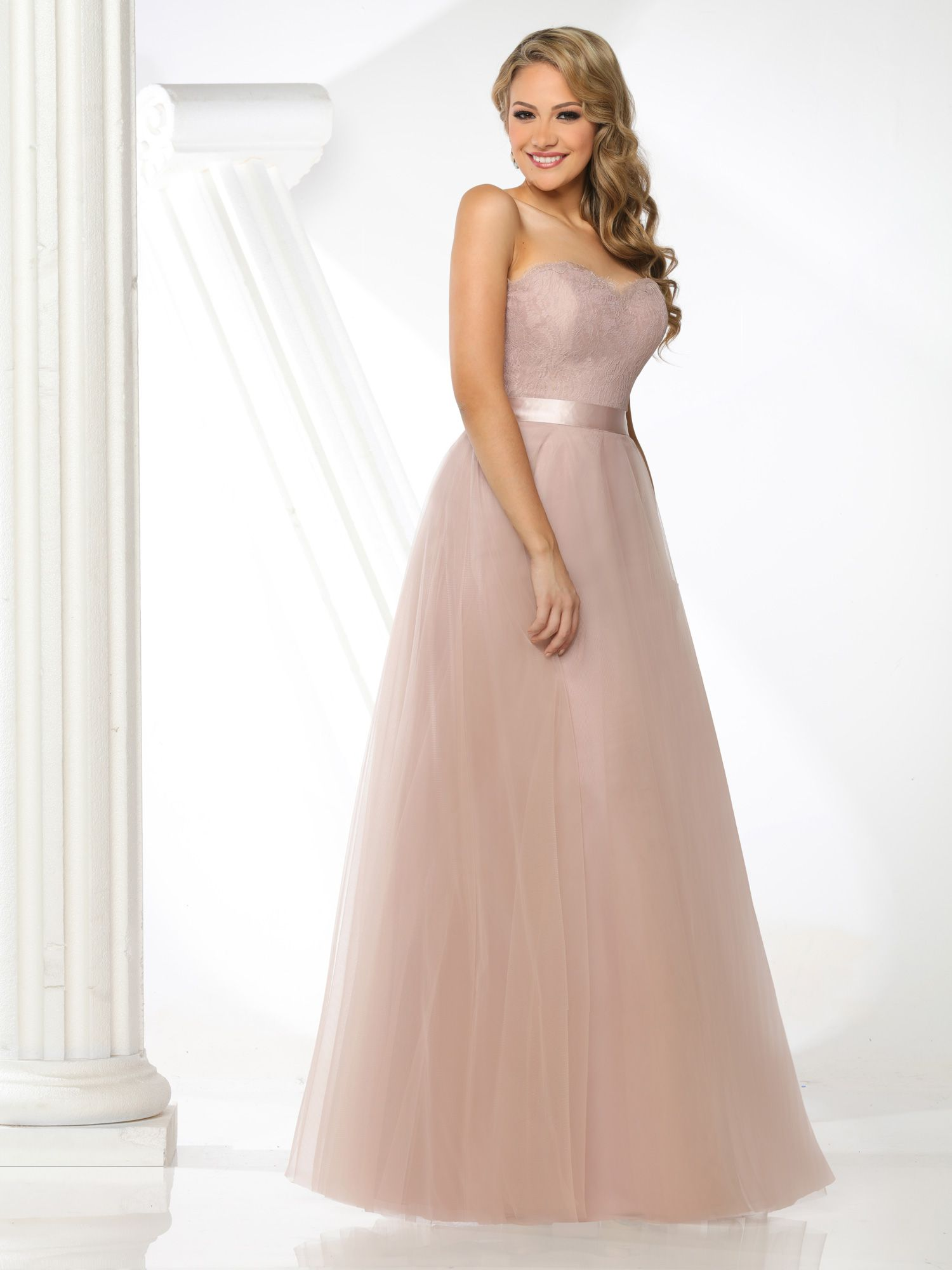Lace Bodice Floor Length Bridesmaid Dresses