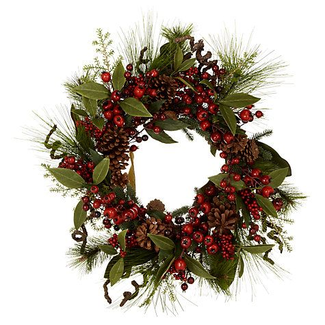 09dbf3486d57 Buy John Lewis Premium Red Berry and Pine Cone Wreath