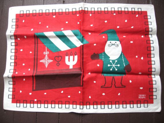 Jerry Roupe Vtg Near Mint Pair Of Linen Placemats Scandinavian Textile Swedish Collectible Christmas Jerry Roupe