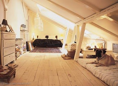i love attics with low ceilings and natural light that makes the room glow