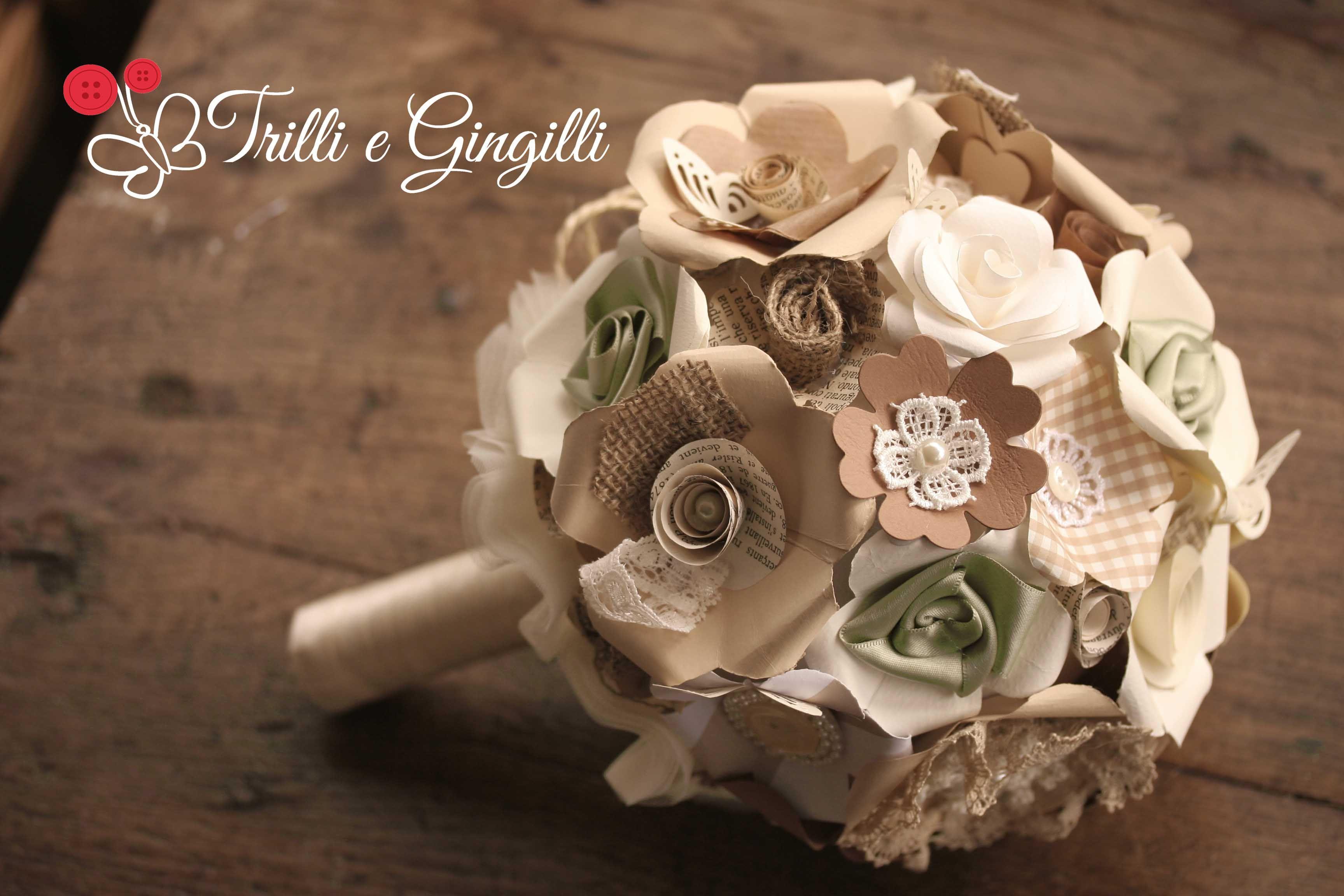 Bouquet Sposa Juta.Bouquet Sferico Di Carta Dai Toni Neutri Stile Country Chic Con