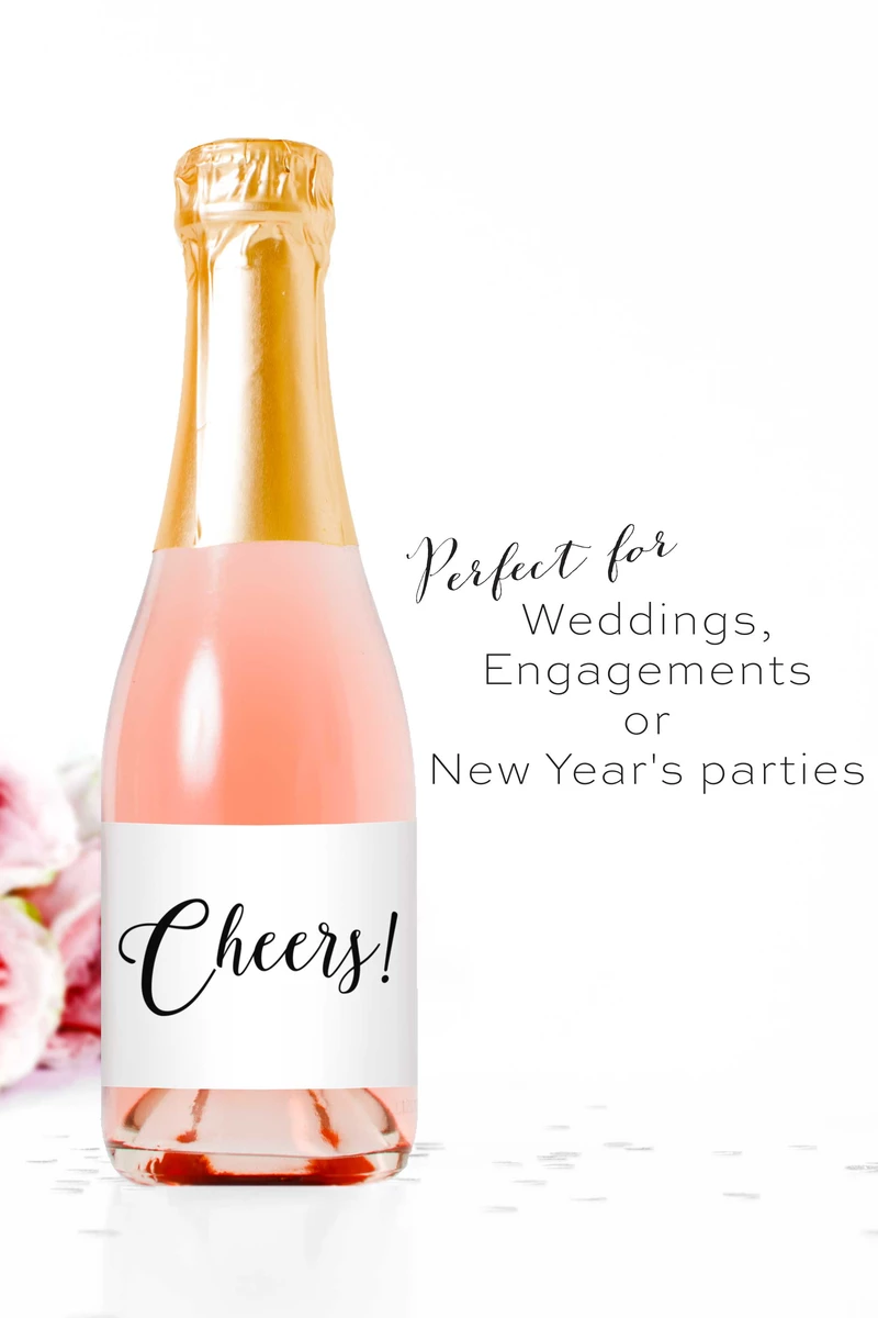 Cheers Wedding Wine Engagment Party Favor New Year/'s Eve Party Favors Wedding Favor Mini Champagne Labels Custom Wine Label