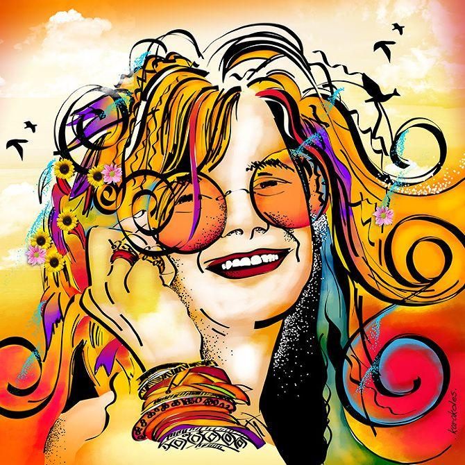 Janis Joplin Karakoles Artista Plastica Arte Engracada Arte Hippie Producao De Arte