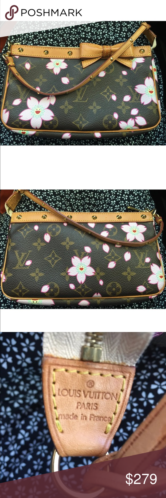 """Louis Vuitton cherry blossom pouchette 100% AUTHENTIC              2003 LIMITED EDITION      CHERRY BLOSSOM POUCHETTE   - BY LOUIS VUITTON WITH JAPANESE ARTIST, TAKASHI MURAKAMI - MONOGRAM CANVAS /CHERRY BLOSSOM DESIGN - GOLD TONE STUDS, AND A LEATHER BOW ON THE FRONT  - ZIP CLOSURE - LINED In BEIGE SUEDE - DATE CODE AR0023 MEASURES · 8.5""""LONG · 5 """"HIGH · 1""""DEEP - 6"""" STRAP -Preowned great condition. Leather has patina color, bow  has a water spot Corners have no exposed piping -Minor…"""